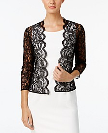 Three-Quarter-Sleeve Sheer Lace Shrug