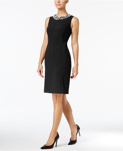 Calvin Klein Beaded Sheath Dress, Regular & Petite Sizes