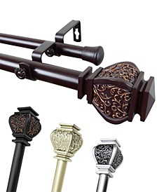 "Margot 1"" Decorative Double Curtain Rod Collection"