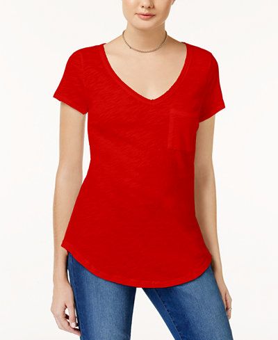 Maison Jules V-Neck Pocket T-Shirt - Tops - Women - Macy's