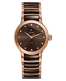 Women's Swiss Automatic Centrix Diamond-Accent Brown High-Tech Ceramic & Rose Gold-Tone PVD Stainless Steel Bracelet Watch 29mm