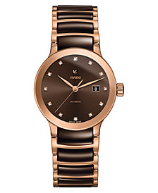 Rado Women's Swiss Automatic Centrix Diamond-Accent Brown High-Tech Ceramic & Rose Gold-Tone PVD Stainless Steel Bracelet Watch 29mm