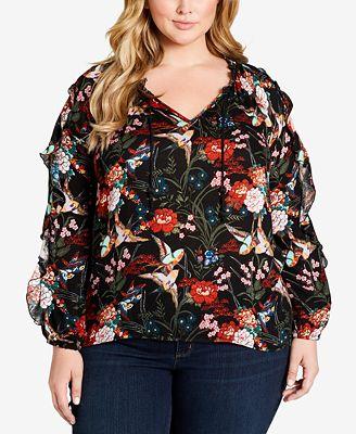 Jessica Simpson Plus Size Keilani Printed Ruffled Top