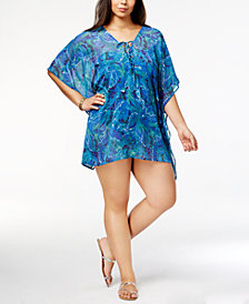 Lauren Ralph Lauren Plus Size Lace-Up Tunic Cover-Up