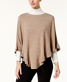 Petite Luxsoft Ruffled Poncho Sweater, Created for Macy's