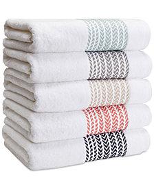 Kassatex Baja Cotton Chevron-Stripe Bath Towel Collection