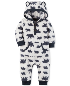 Carters 1Pc Hooded BearPrint Coverall Baby Boys (024 months)