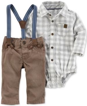 Carters 3Pc Plaid Bodysuit Suspenders  Pants Set Baby Boys (024 months)