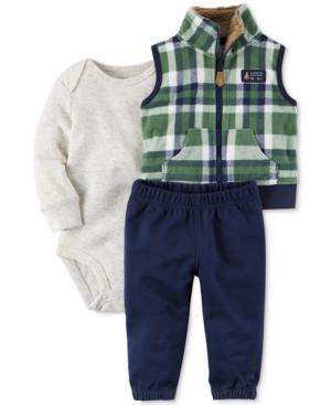 Carters 3Pc Plaid Vest Bodysuit  Pants Set Baby Boys (024 months)