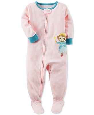 Carter's 1-Pc. Dot-Print Monkey Footed Fleece Pajamas, Baby Girls