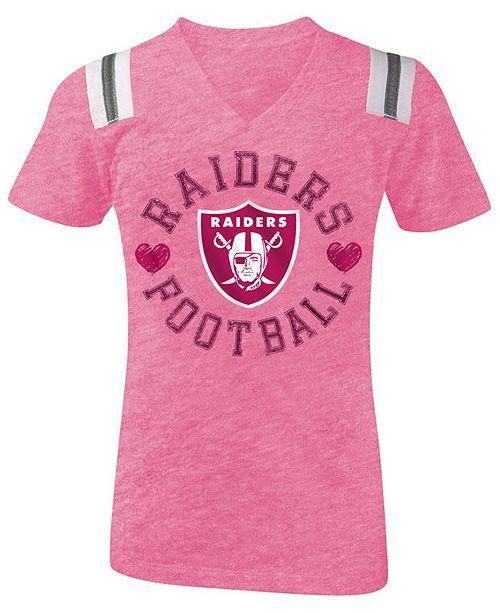 buy popular b78ab 24511 5th & Ocean Oakland Raiders Pink Heart Football T-Shirt ...