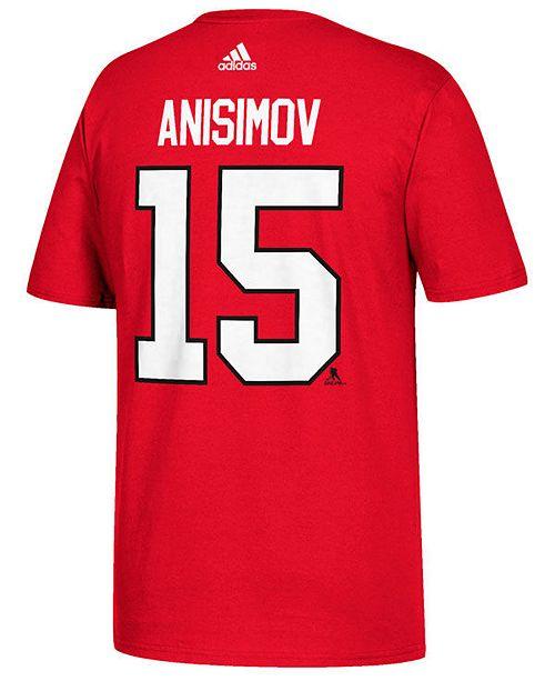 adidas Men's Artem Anisimov Chicago Blackhawks Silver Player T-Shirt