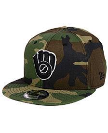 New Era Milwaukee Brewers Woodland Black/White 9FIFTY Snapback Cap
