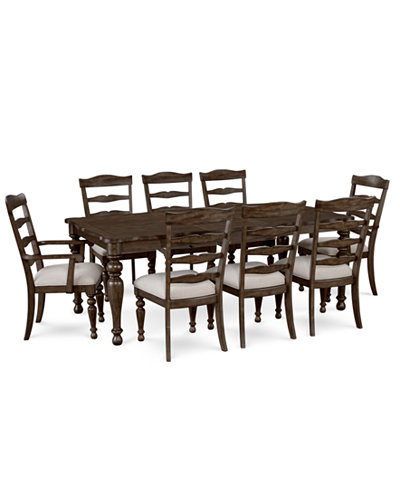 CLOSEOUT! Hamilton Expandable Dining Furniture, 9-Pc. Set (Dining Table, 6 Side Chairs & 2 Arm Chairs), Created for Macy's