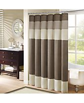 "Madison Park Amherst Colorblocked 108"" x 72"" Faux-Silk Shower Curtain"