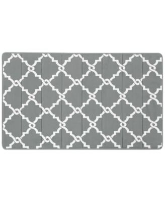 "Merritt Reversible 20"" x 30"" Fretwork-Print Memory Foam Fleece Bath Rug"