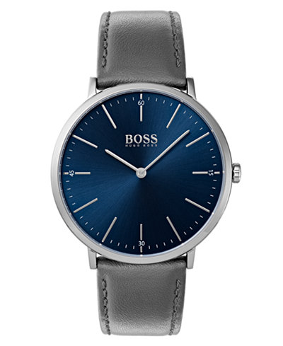 BOSS Hugo Boss Men's Horizon Gray Leather Strap Watch 40mm