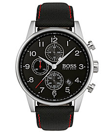 BOSS Hugo Boss Men's Chronograph Navigator Black Fabric Strap Watch 44mm