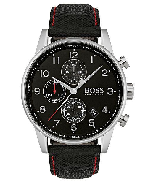 BOSS Hugo Boss Men's Chronograph Navigator Black Fabric Strap Watch 44mm