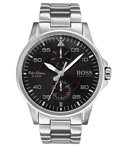BOSS Hugo Boss Men's Aviator Stainless Steel Bracelet Watch 44mm