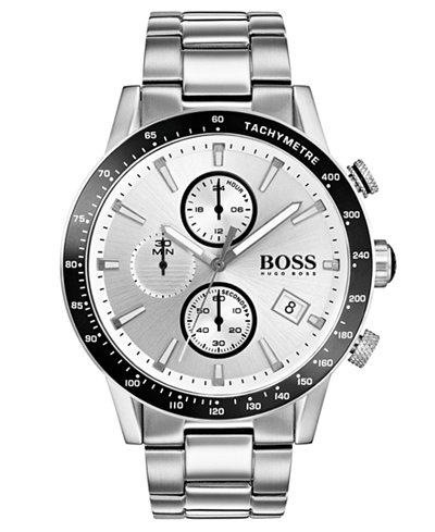 BOSS Hugo Boss Men's Chronograph Rafale Stainless Steel Bracelet Watch 44mm