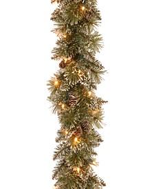 "Pre-Lit 9' x 10"" Glittery Bristle Pine Garland with Pine Cones"