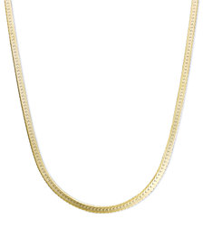 "14k Gold Necklace, 20"" Flat Herringbone Chain"