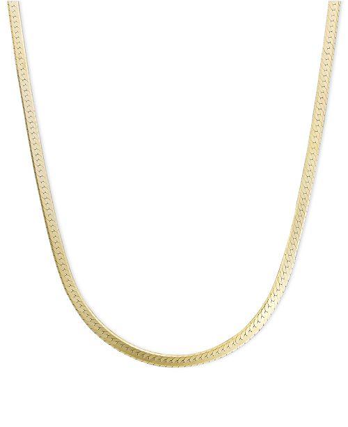 "Macy's 14k Gold Necklace, 20"" Flat Herringbone Chain (1-1/4mm)"