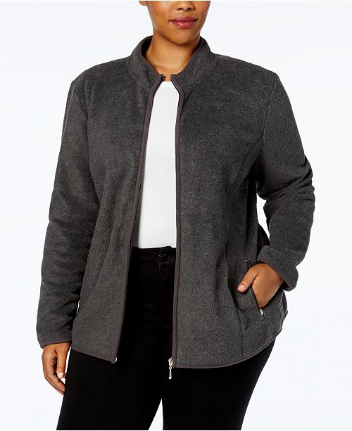 8a4a4ec08c8 Karen Scott Plus Size Zeroproof Fleece Jacket