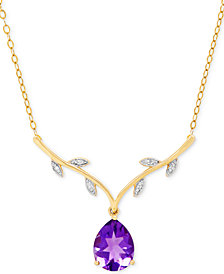Amethyst (1-3/8 ct. t.w.) & Diamond Accent Pendant Necklace in 14k Gold