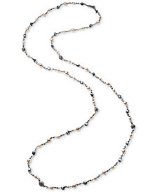 Carolee Hematite-Tone Bead & Imitation Pearl Long Necklace