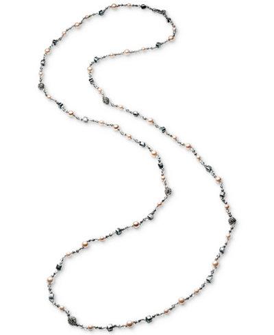 Carolee Hematite-Tone Bead & Imitation Pearl Long Necklace