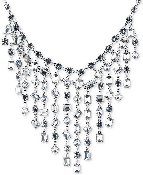 Carolee Silver-Tone Bezel-Set Crystal Statement Necklace
