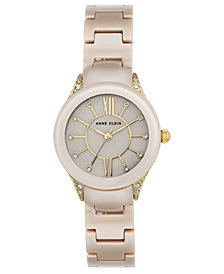 Anne Klein Women's Tan Ceramic Bracelet Watch 30mm