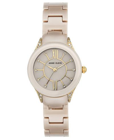 Anne Klein Women's Tan Ceramic Bracelet Watch 30mm
