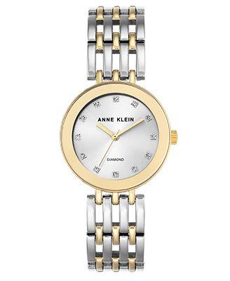Anne Klein Women's Diamond-Accent Two-Tone Bracelet Watch 30mm