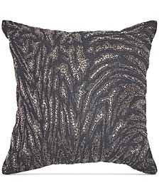 "Home Moonscape Charcoal Beaded 18"" Square Decorative Pillow"