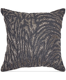 "Donna Karan Home Moonscape Charcoal Beaded 18"" Square Decorative Pillow"