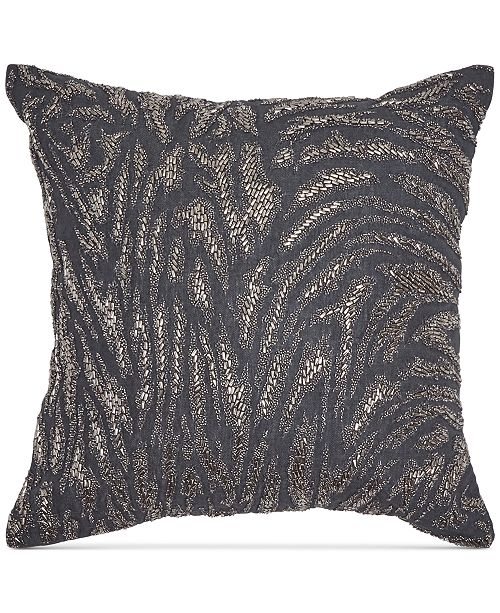 """Donna Karan Home Moonscape Charcoal Beaded 18"""" Square Decorative Pillow"""