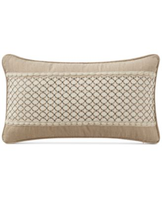 """Charlize Embroidered Gold 11"""" x 20"""" Decorative Pillow"""