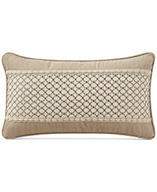 "Waterford Charlize Embroidered Gold 11"" x 20"" Decorative Pillow"