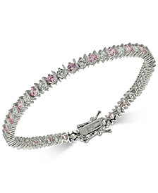 Giani Bernini Cubic Zirconia Pink Tennis Bracelet in Sterling Silver, Created for Macy's