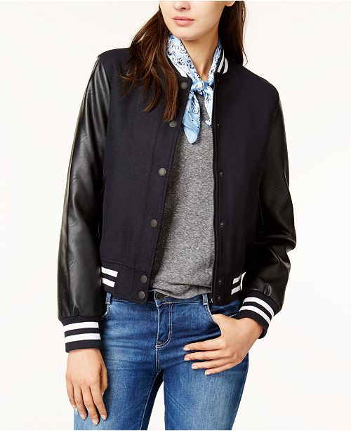 Levi s Mixed-Media Bomber Jacket - Jackets   Blazers - Women - Macy s f80548a8d