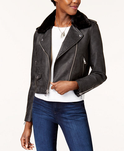 Levi's® Cropped Faux-Fur-Collar Moto Jacket - Jackets - Women - Macy's