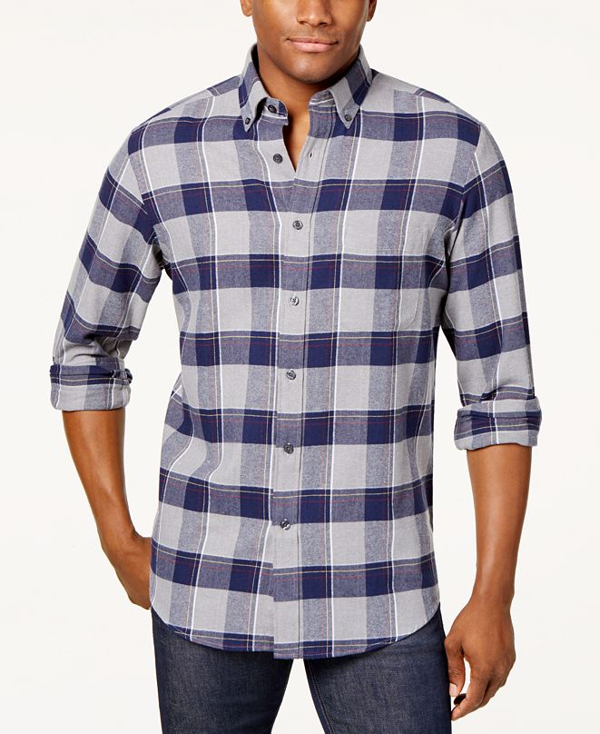 Club Room Men's Plaid Flannel Shirt, Created for Macy's