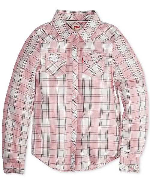 bfdb0a657 Levi's Buffalo Plaid Long-Sleeve Shirt, Big Girls & Reviews - Shirts ...