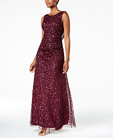Adrianna Papell Cowl-Back Sequined Gown