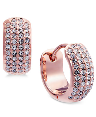Danori Rose Gold-Tone Pavé Huggie Hoop Earrings, Created for Macy's