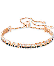 Swarovski Rose Gold-Tone Clear & Jet Crystal Double-Row Slider Bracelet