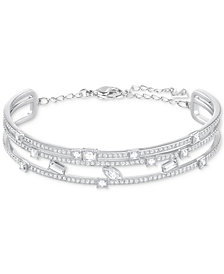 Swarovski Silver-Tone Crystal Multi-Row Bangle Bracelet